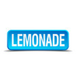 lemonade blue 3d realistic square isolated button vector image vector image