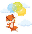 little fox flying with balloons vector image vector image