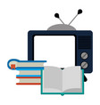 old tv and books stacked vector image vector image