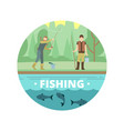 outdoor summer activities fishing people with vector image