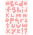Pink bubble shaped lower case alphabet vector image