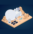 planet base isometric composition vector image vector image