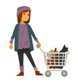 sad homeless woman in stained sweater with metal vector image