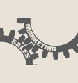 sales and marketing text on the gears vector image
