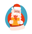 santa claus gives a christmas gift box with bow vector image