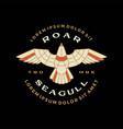 seagull badge roar flying logo icon vector image