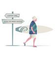 senior man with hat tropical shirt and bermuda vector image vector image
