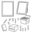 set of blackboard and chalk vector image vector image