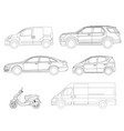 set of outline icons cars view to the side vector image