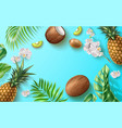 summer banner fruit tropical flower leaves vector image vector image
