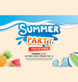 summer beach party with paper cut symbol and icon vector image vector image