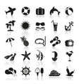 summer icons in black and white vector image vector image