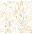 tropical exotic floral golden line palm leaves vector image