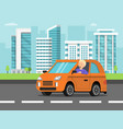 urban landscape with car and driver vector image vector image