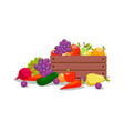 vegetables and fruits in wooden crate vector image