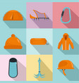 warm inventory icons set flat style vector image