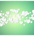 White paper hearts Valentines day card on emerald vector image vector image