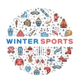Winter sports colorful thin line icons set vector image vector image