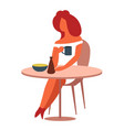 woman at table having lunch with coffee or tea vector image vector image
