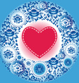 Red heart and blue flowers Greeting card vector image