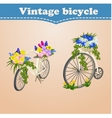 Vintage bicycle card with spring and flowers vector image