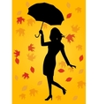 silhouette of woman holding an umbrella vector image
