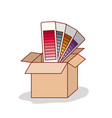 carton box with set of color palette of gradient vector image