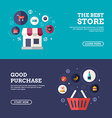 The Best Store Good Purchase Set of Flat Design vector image