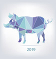 2019 new year card with pig made of triangles vector image vector image