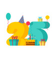 25 year happy birthday greeting card 25th vector image