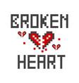a broken heart pixel vector image vector image