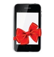 Abstract design mobile phone with red bow and vector image vector image
