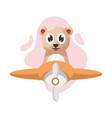 adorable bear with plane cartoon