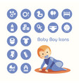 baby boy crawling and icons set vector image