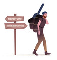 bearded young man with hat carrying backpack and vector image