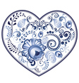 Blue Floral Heart vector image vector image
