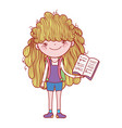 book day little girl with open textbook isolated vector image