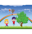 Boy and Girl on Lawn vector image vector image