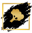 broccoli branch sign golden icon at black vector image