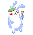 bunny with paintbrush on white background vector image