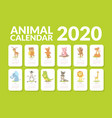 calendar 2020 monthly calendar with cute animals vector image