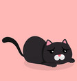 cartoon black cat sad emotion pink background vect vector image vector image
