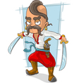 Cartoon cossack with swords and vector image vector image