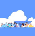 casual people group standing over cloud sky vector image vector image