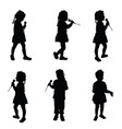 child singing silhouette with microphone vector image