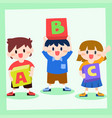 children holding box of alphabet back to school vector image vector image
