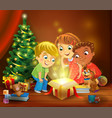 christmas miracle - kids opening a magic gift vector image vector image