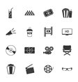 Cinema black and white flat icons set vector image vector image