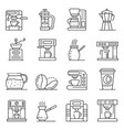 coffee maker icons set outline style vector image vector image