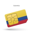 Colombia mobile phone sim card with flag vector image vector image